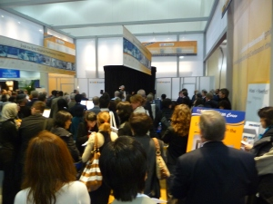 Crowd watching BioImagene's big stage presentation